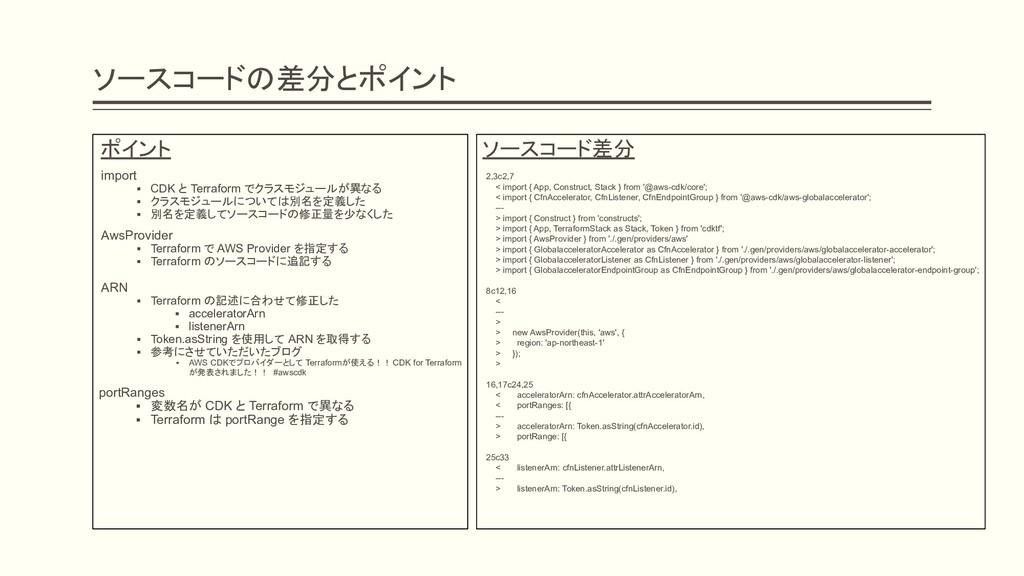 ソースコードの差分とポイント ソースコード差分 2,3c2,7 < import { App,...