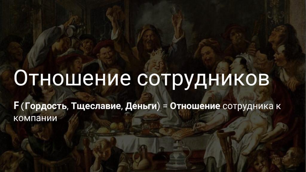Отношение сотрудников F(Гордость, Тщеславие, Де...