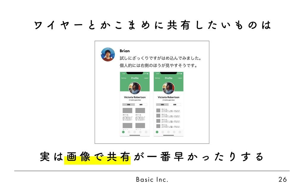 Basic Inc. 26 実 は 画 像 で 共 有 が 一 番 早 か っ た り す る...