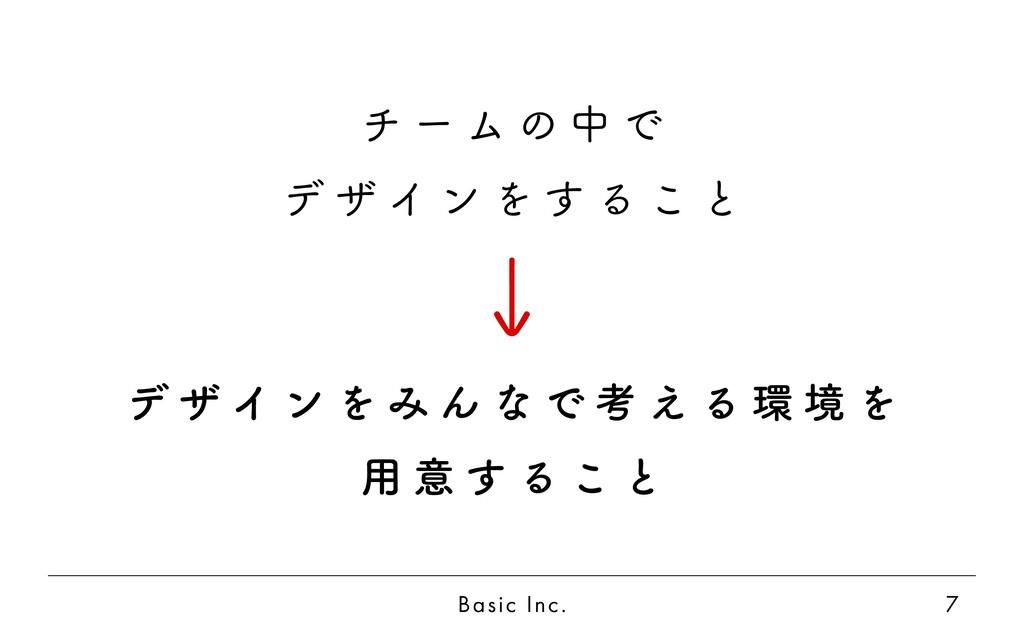 Basic Inc. 7 チ ー ム の 中 で デ ザ イ ン を す る こ と デ ザ ...