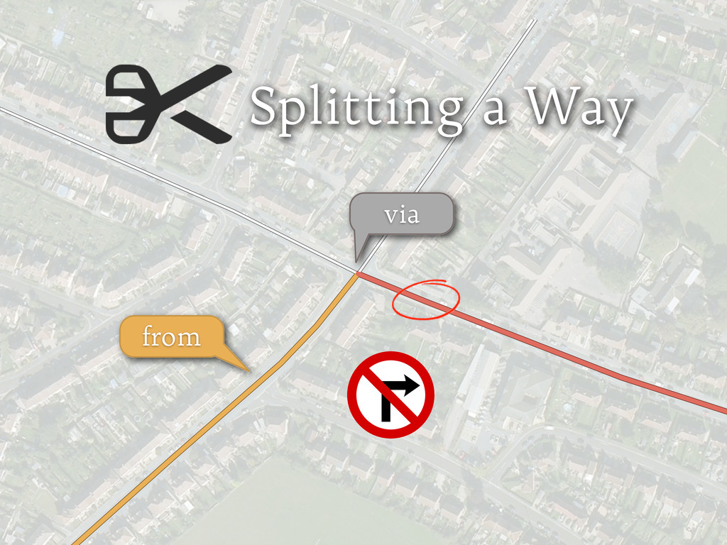 Splitting a Way from via