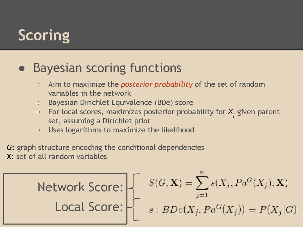 ● Bayesian scoring functions ○ Aim to maximize ...