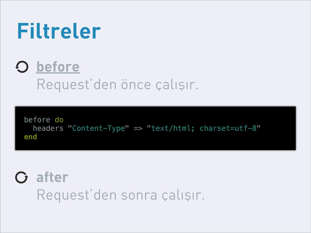 Filtreler before Request'den önce çalışır. afte...