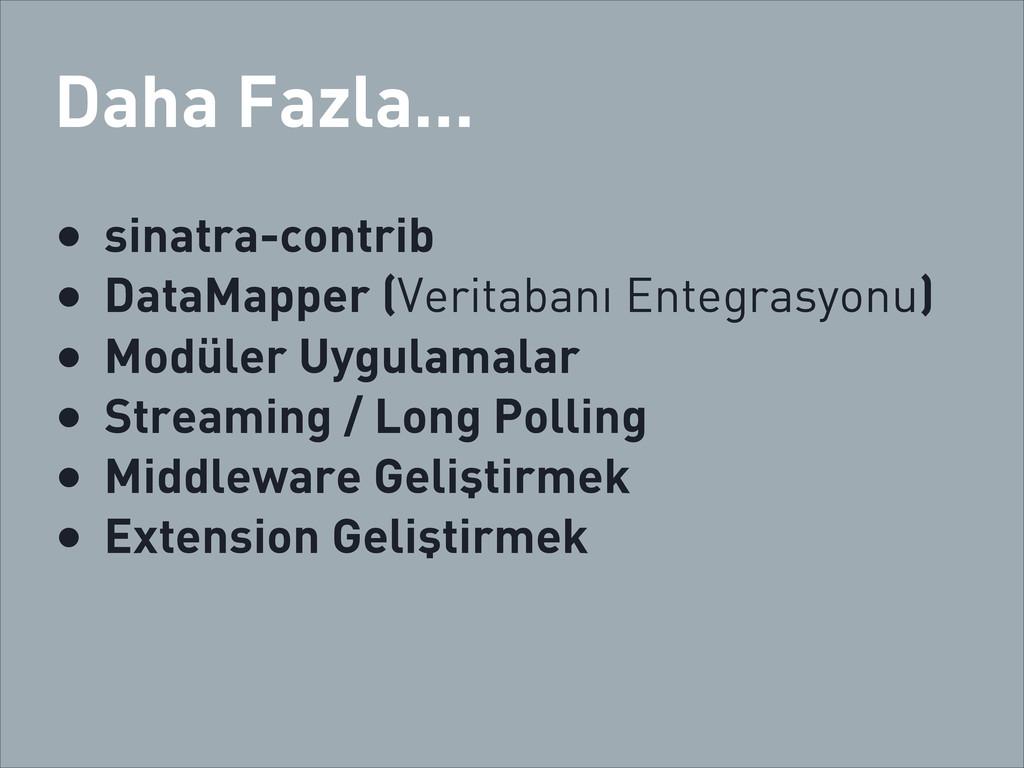 Daha Fazla... • sinatra-contrib • DataMapper (V...