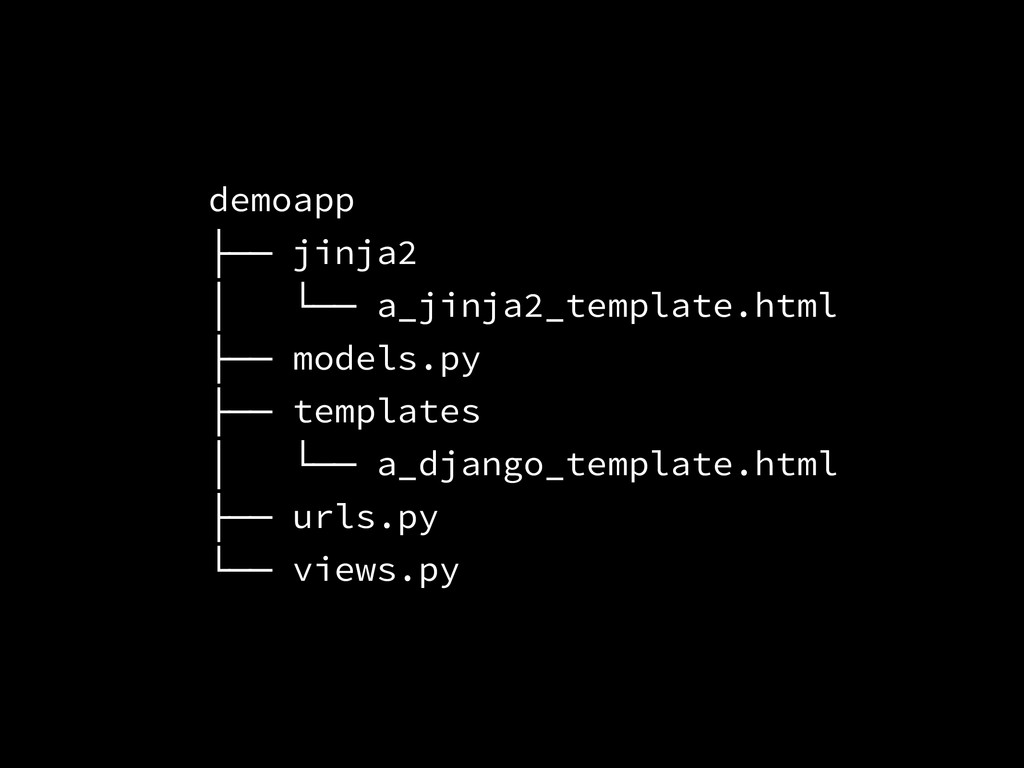 demoapp ├── jinja2 │ └── a_jinja2_template.html...
