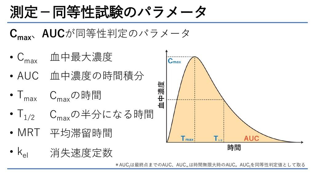測定-同等性試験のパラメータ C max 、AUCが同等性判定のパラメータ • C max •...