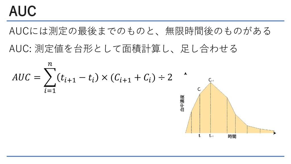 AUC AUCには測定の最後までのものと、無限時間後のものがある AUC: 測定値を台形として...