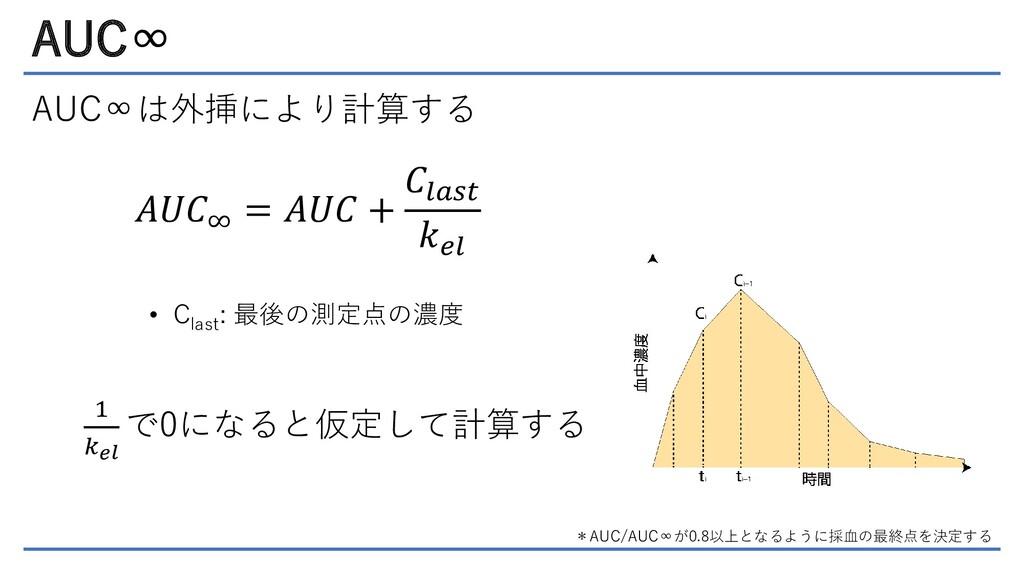 AUC∞ AUC∞は外挿により計算する 𝐴𝑈𝐶∞ = 𝐴𝑈𝐶 + 𝐶𝑙𝑎𝑠𝑡 𝑘𝑒𝑙 • C ...