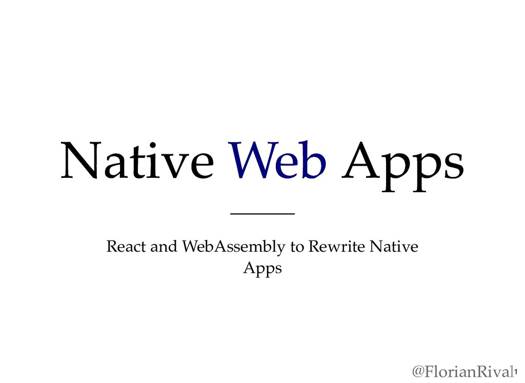 Native Native Web Web Apps Apps React and WebAs...