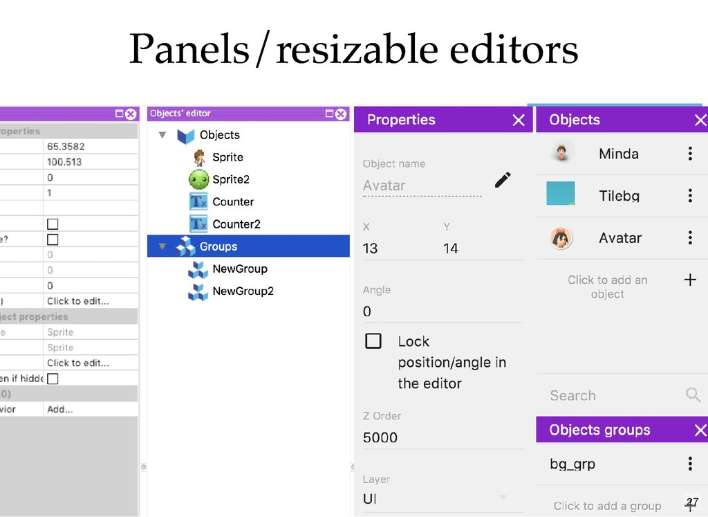 Panels/resizable editors Panels/resizable edito...