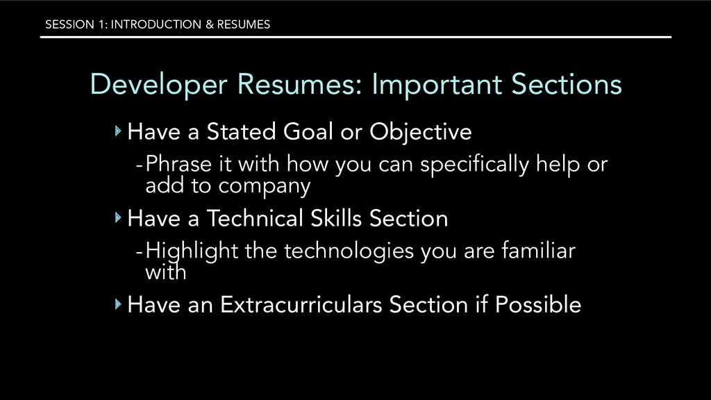 SESSION 1: INTRODUCTION & RESUMES Developer Res...