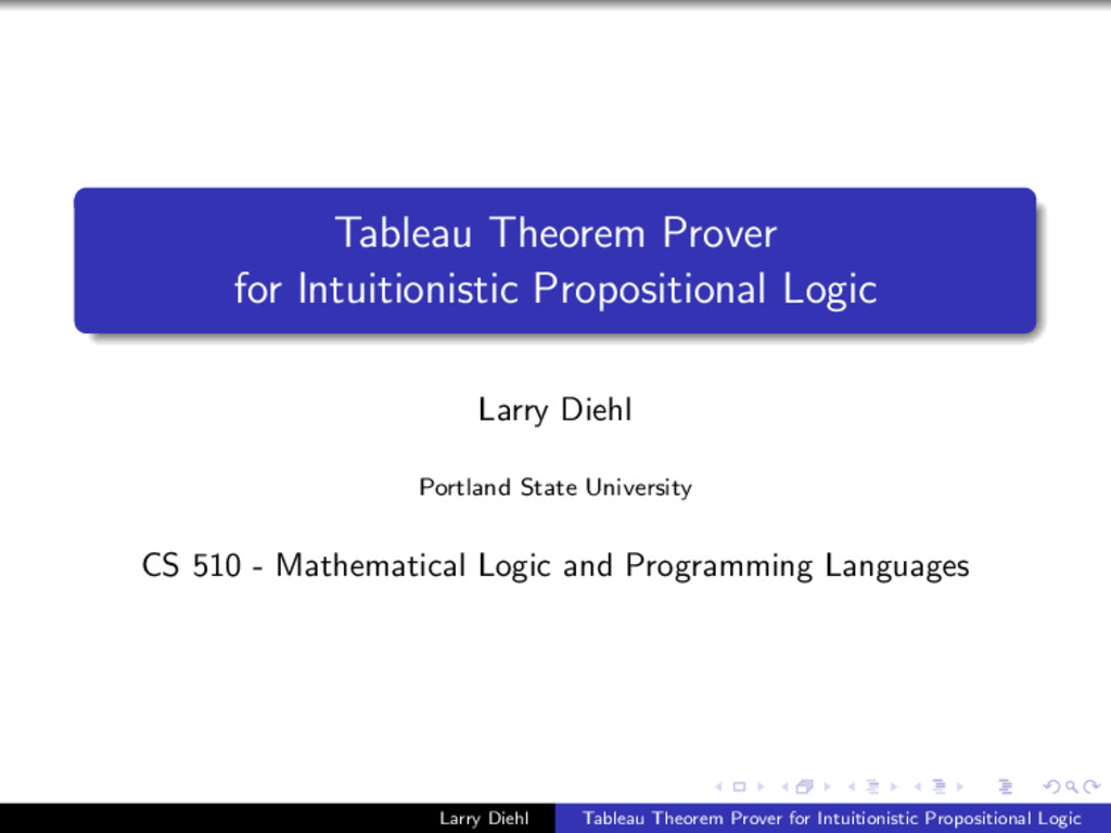 Tableau Theorem Prover for Intuitionistic Propo...