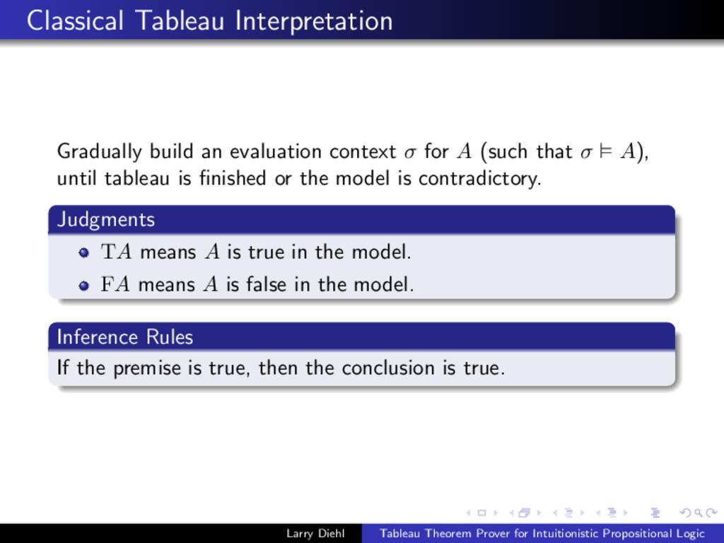 Classical Tableau Interpretation Gradually buil...