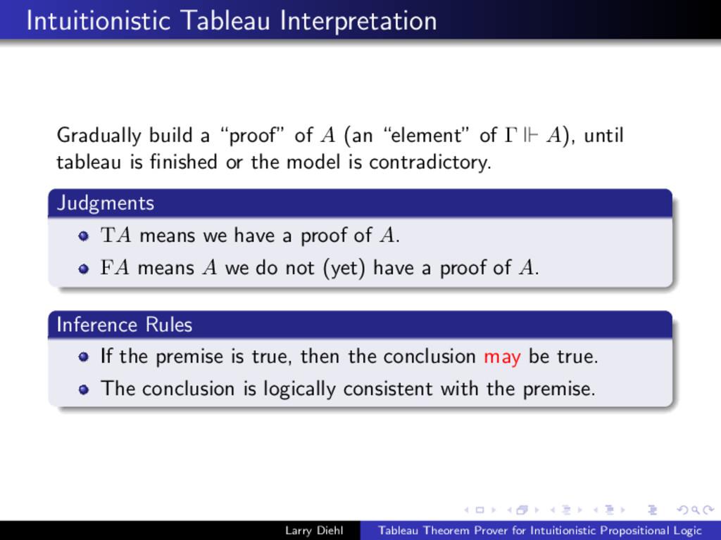 Intuitionistic Tableau Interpretation Gradually...