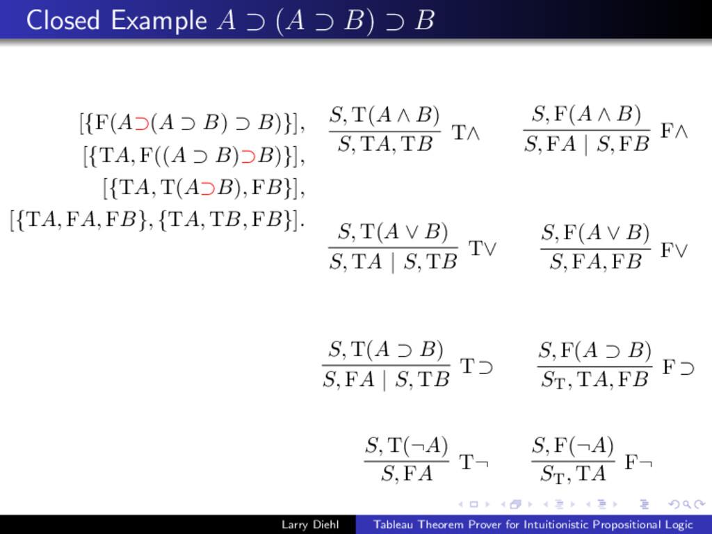 Closed Example A ⊃ (A ⊃ B) ⊃ B [{F(A⊃(A ⊃ B) ⊃ ...