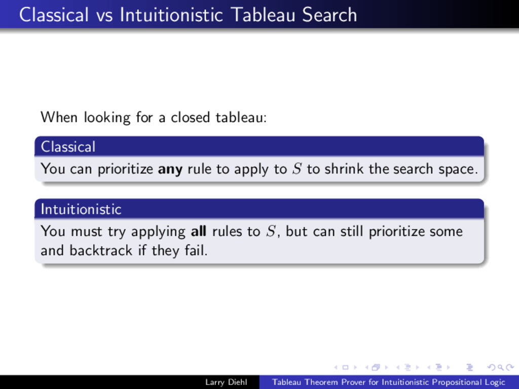 Classical vs Intuitionistic Tableau Search When...