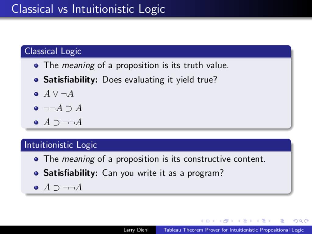 Classical vs Intuitionistic Logic Classical Log...