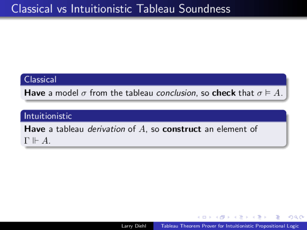 Classical vs Intuitionistic Tableau Soundness C...