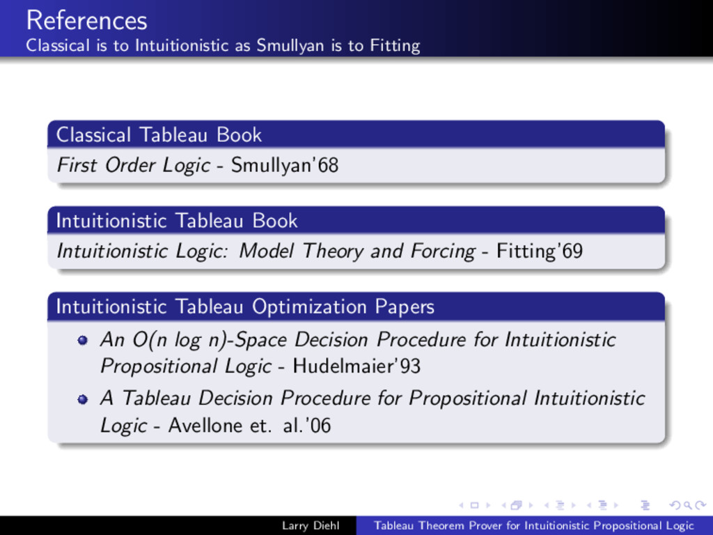References Classical is to Intuitionistic as Sm...