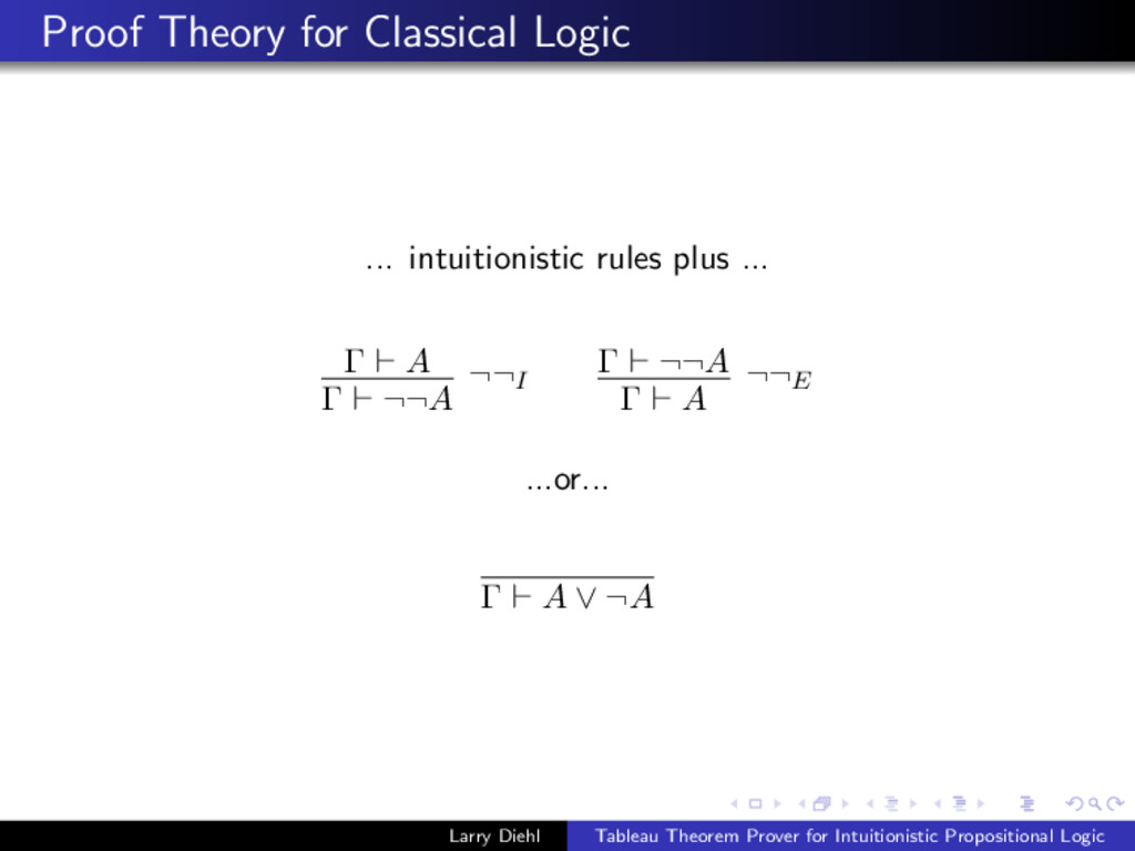 Proof Theory for Classical Logic ... intuitioni...