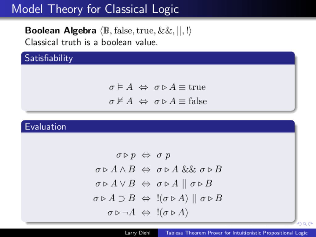 Model Theory for Classical Logic Boolean Algebr...