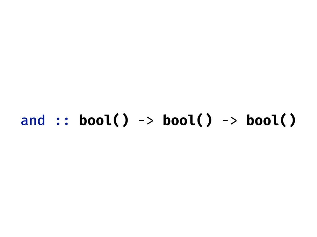 and :: bool() -> bool() -> bool()
