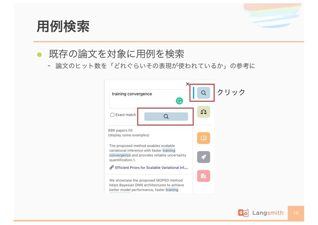用例検索 16  既存の論文を対象に用例を検索  論文のヒット数を「どれぐらいその表現が使...