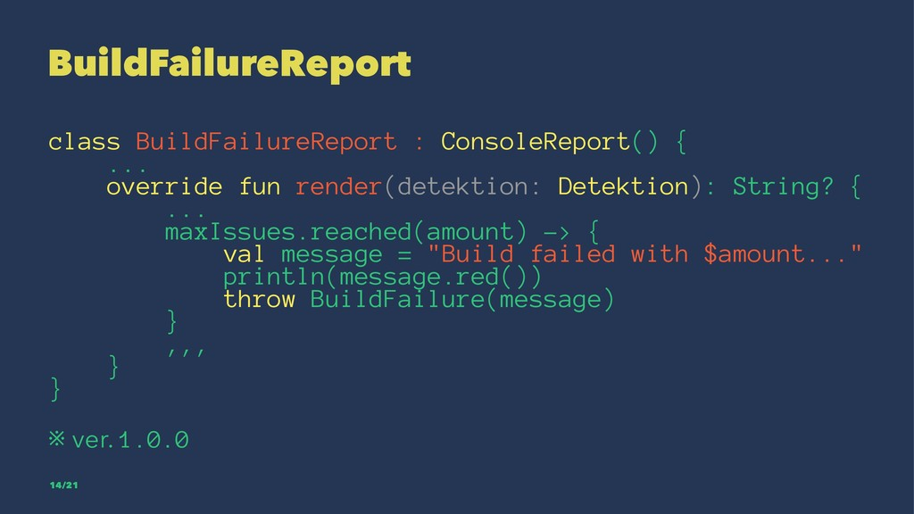 BuildFailureReport class BuildFailureReport : C...