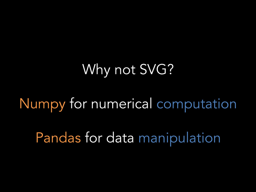 Why not SVG? Numpy for numerical computation Pa...