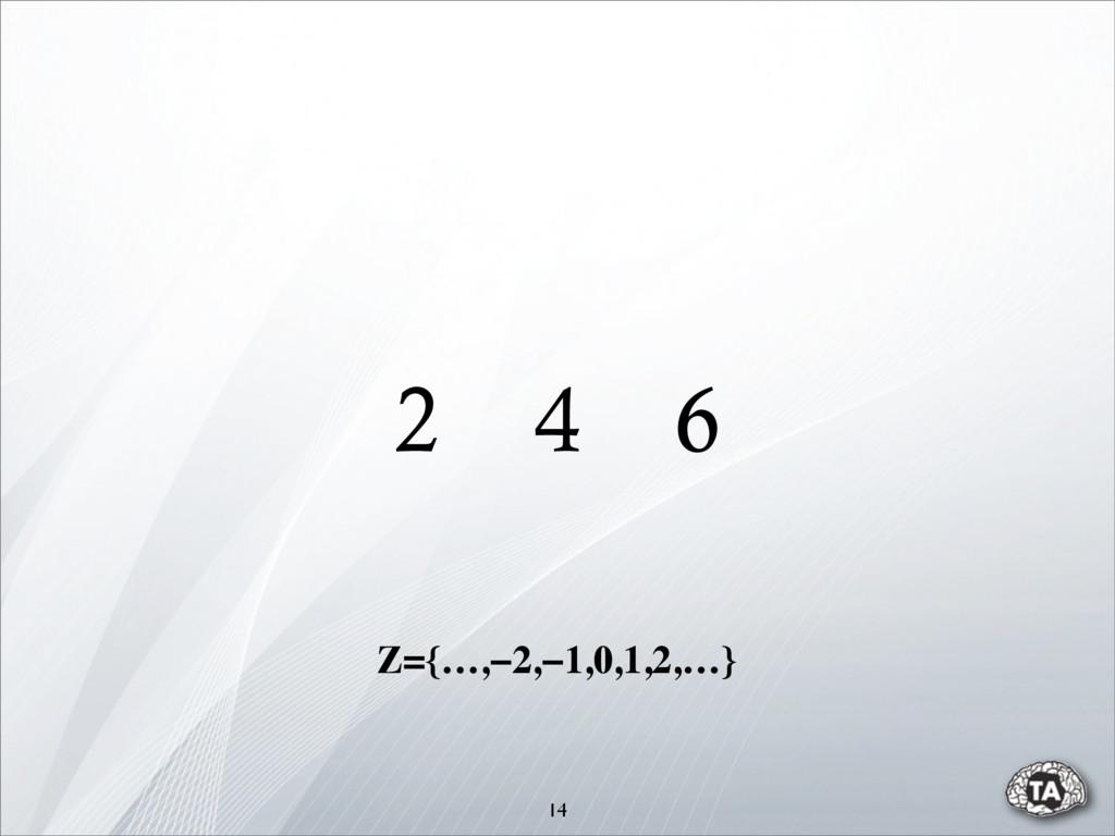 2 4 6 14 Z={…,−2,−1,0,1,2,…}
