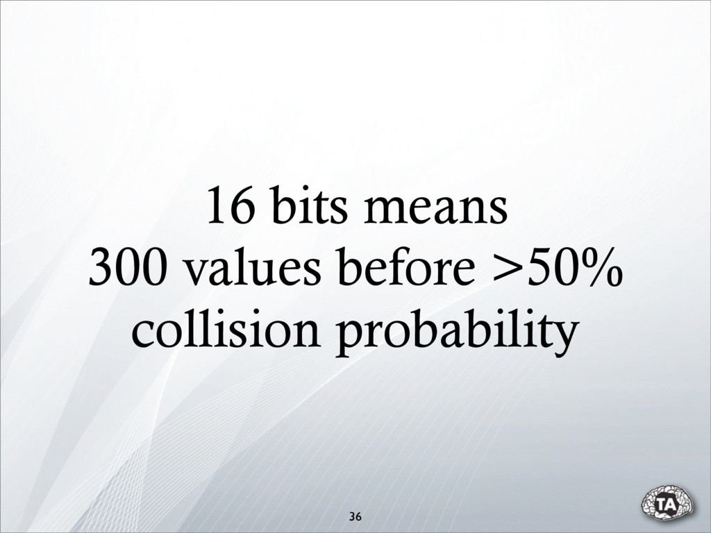 16 bits means 300 values before >50% collision ...