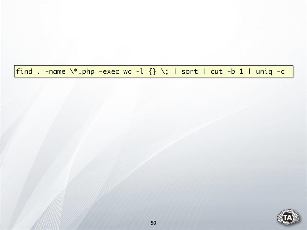 find . -name \*.php -exec wc -l {} \; | sort | ...