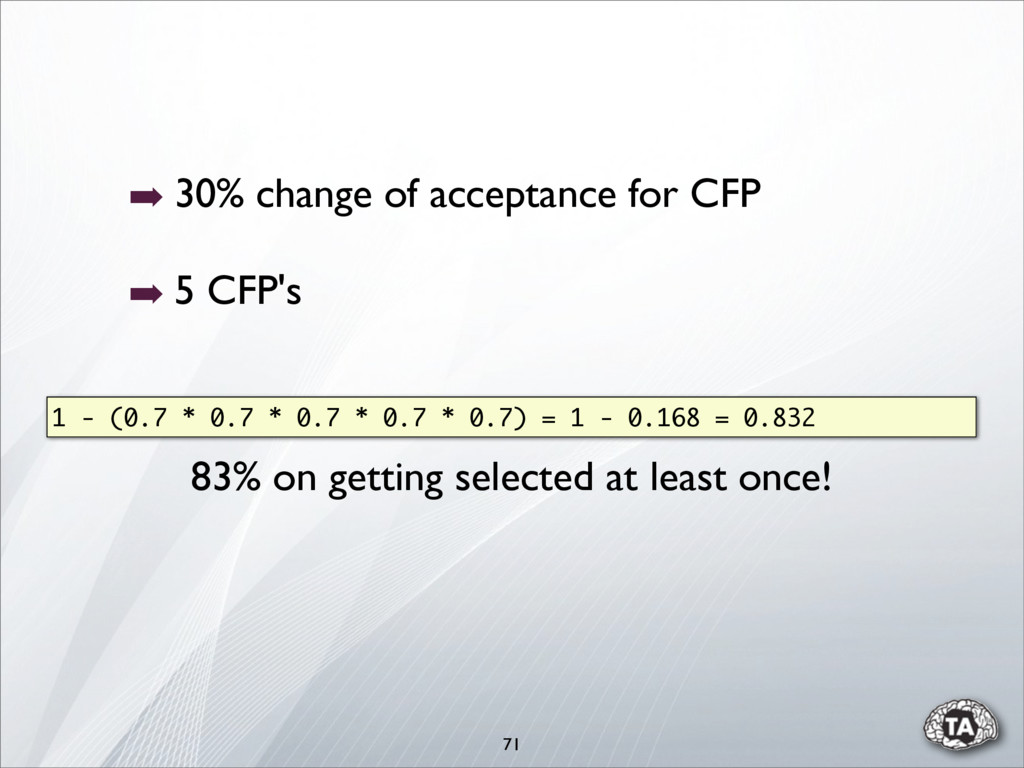 71 ➡ 30% change of acceptance for CFP ➡ 5 CFP's...