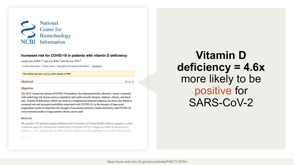 Vitamin D deficiency = 4.6x more likely to be p...
