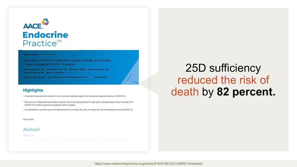 25D sufficiency reduced the risk of death by 82...
