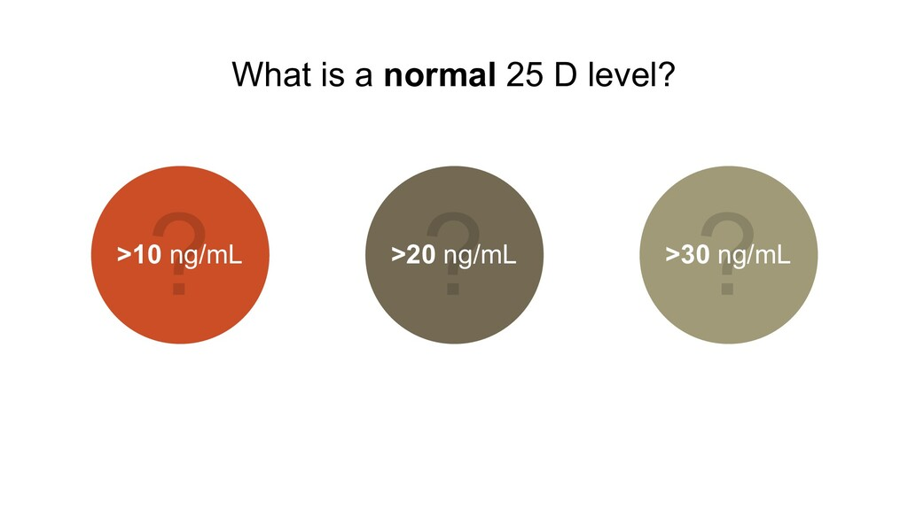 What is a normal 25 D level? >10 ng/mL >20 ng/m...