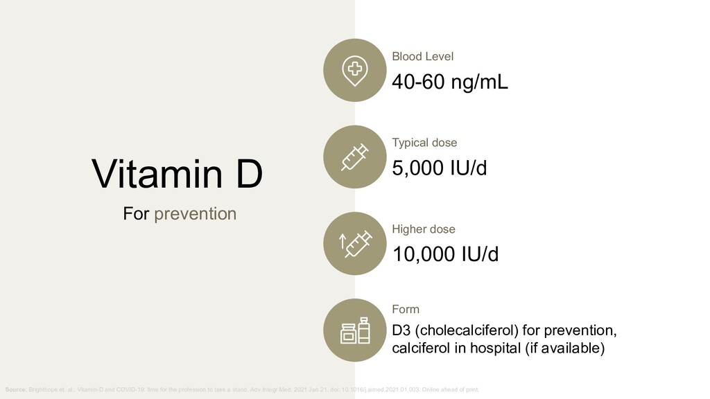 Vitamin D For prevention Blood Level 40-60 ng/m...
