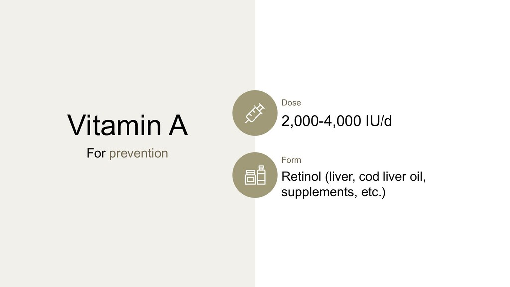 Vitamin A For prevention Form Retinol (liver, c...