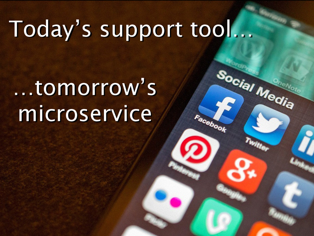 Today's support tool… …tomorrow's microservice