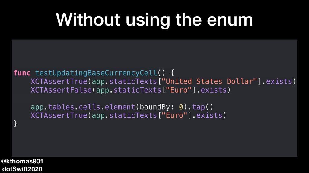 Without using the enum func testUpdatingBaseCur...