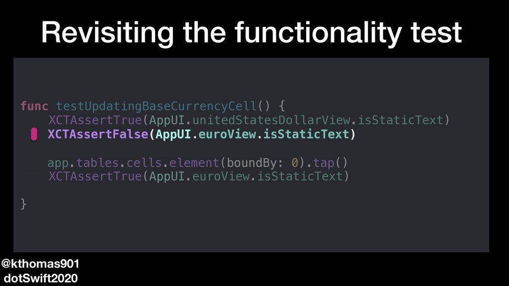 Revisiting the functionality test func testUpda...