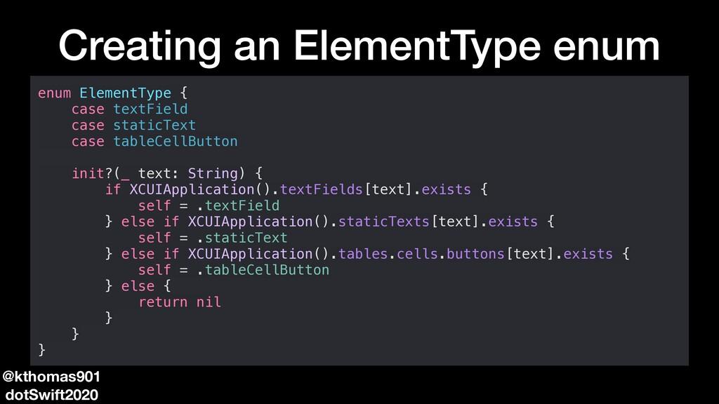 Creating an ElementType enum enum ElementType {...