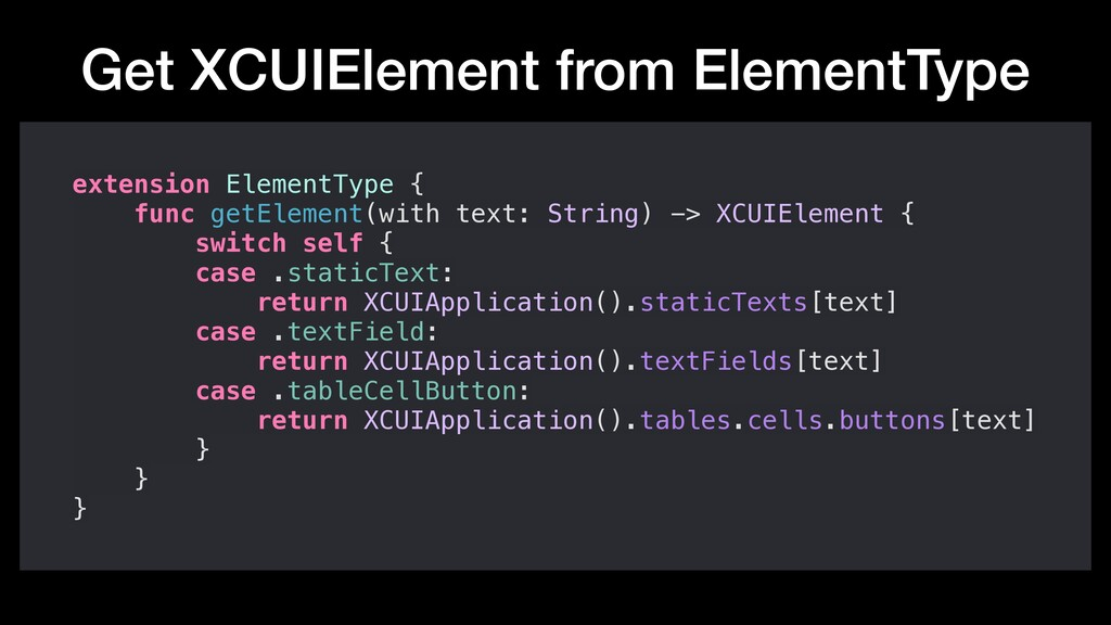 Get XCUIElement from ElementType extension Elem...