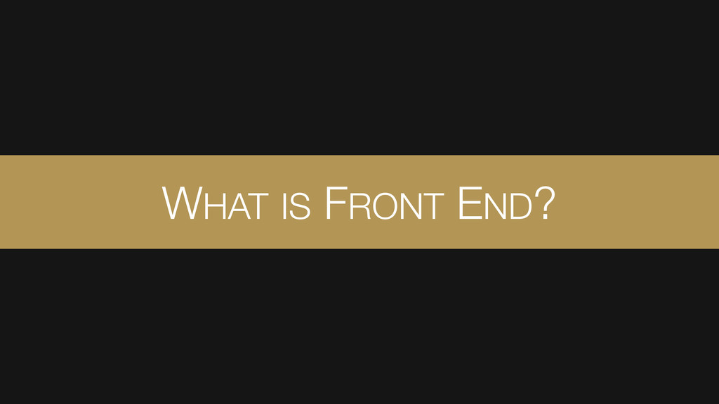 WHAT IS FRONT END?
