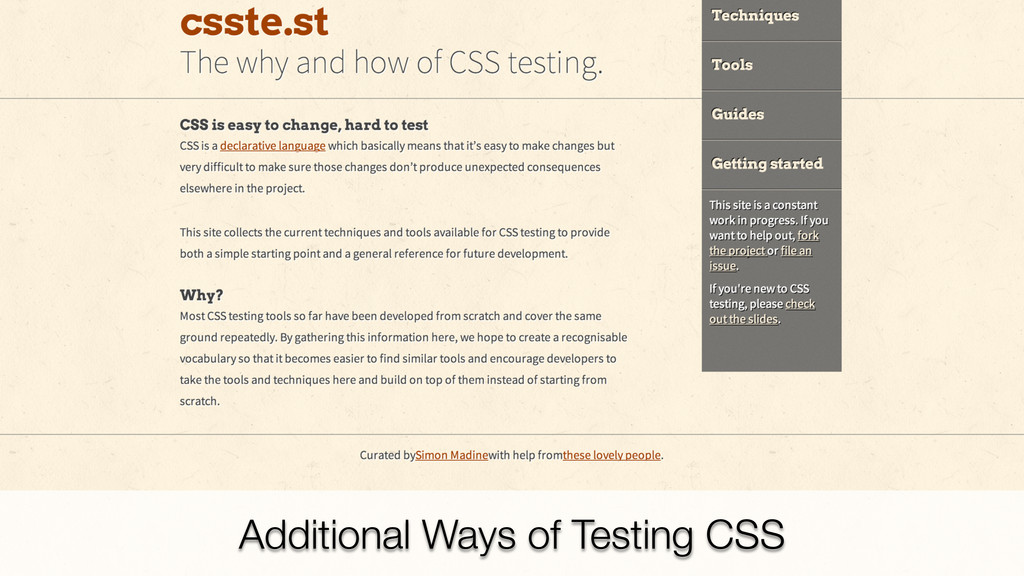 Additional Ways of Testing CSS