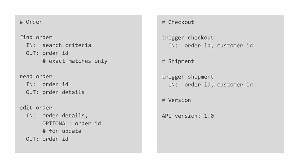 # Order find order IN: search criteria OUT: ord...