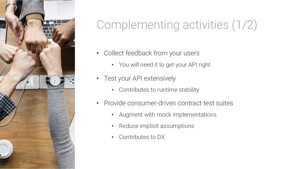 Complementing activities (1/2) • Collect feedba...
