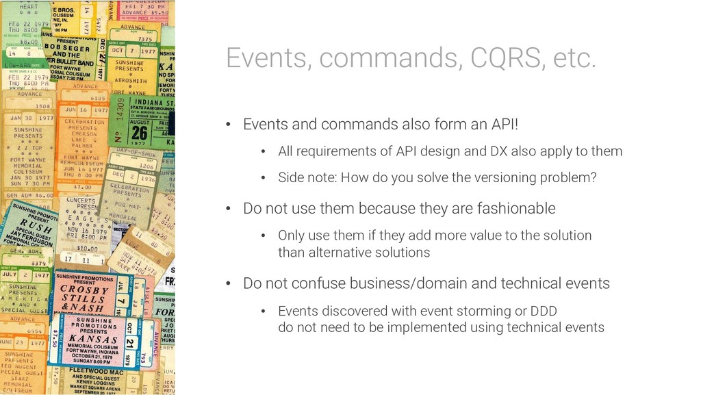Events, commands, CQRS, etc. • Events and comma...