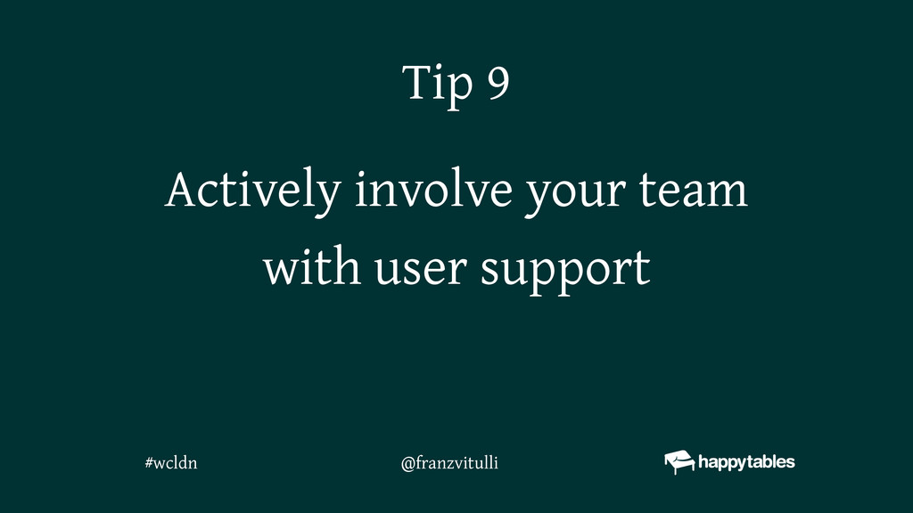 Actively involve your team with user support Ti...