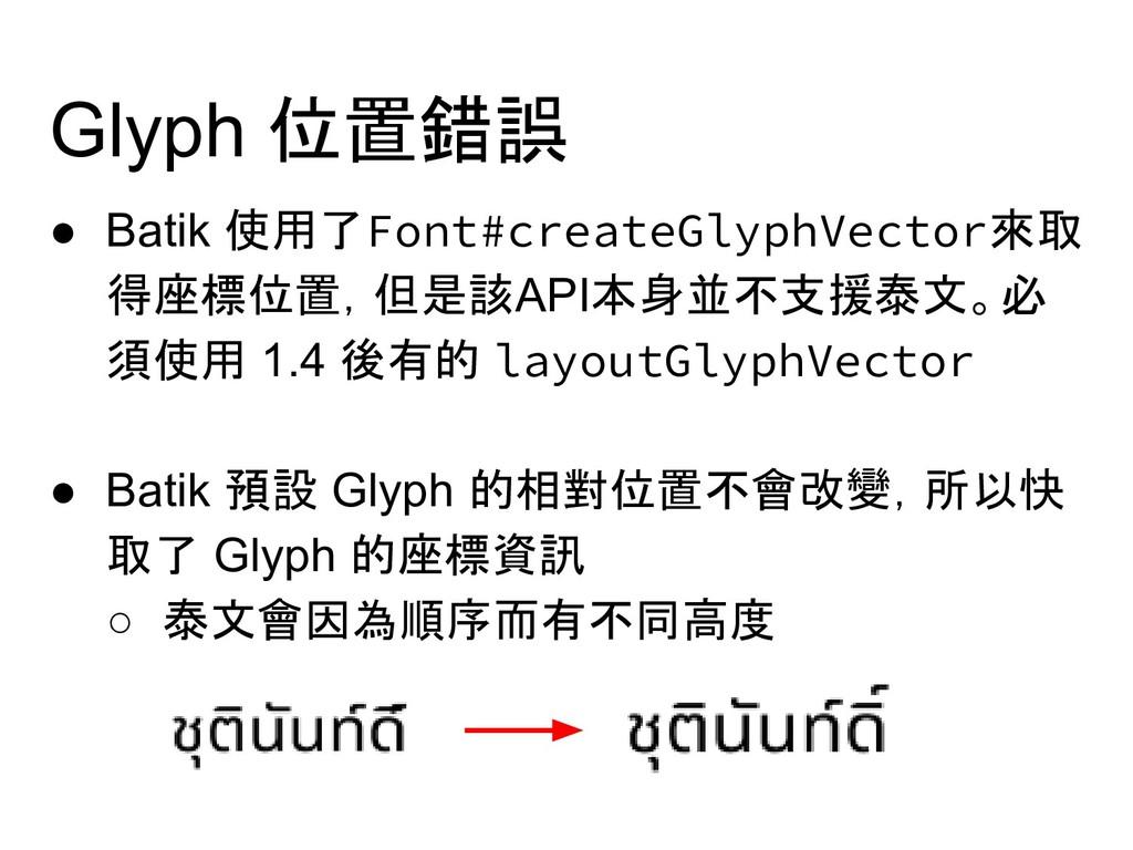Glyph 位置錯誤 ● Batik 使用了Font#createGlyphVector來取 ...